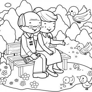 Voici un dessin de Grand Père à imprimer gratuitement. Un coloriage pour tous les enfants qui adorent leur papi. Page 07