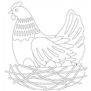 Voici un dessin poule à imprimer pour les enfants qui adorent ces animaux de la ferme ou pour Pâques - Page 1