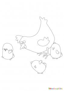 Voici un dessin poule à imprimer pour les enfants qui adorent ces animaux de la ferme ou pour Pâques - Page 2