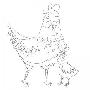 Voici un dessin poule à imprimer pour les enfants qui adorent ces animaux de la ferme ou pour Pâques - Page 5