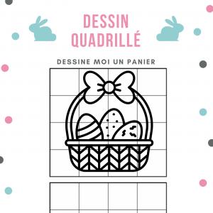 Découvre comment faire un dessin de panier de Pâques en t'aidant du quadrillage.  Comment faire ? Il suffit de bien observer le modèle du panier puis de recopier à l'identique sur le quadrillage du dessous.