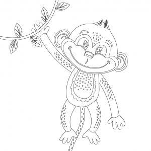Dessin singe : voici un coloriage avec un dessin de singe ! Un dessin à imprimer sur le thème des singes - Page 1
