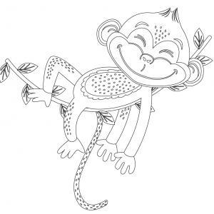 Dessin singe : voici un coloriage avec un dessin de singe ! Un dessin à imprimer sur le thème des singes - Page 2