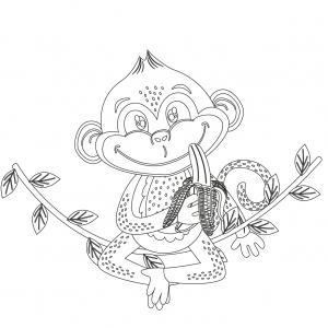 Dessin singe : voici un coloriage avec un dessin de singe ! Un dessin à imprimer sur le thème des singes - Page 3