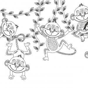 Dessin singe : voici un coloriage avec un dessin de singe ! Un dessin à imprimer sur le thème des singes - Page 5