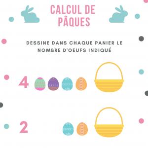 Fiche de calcul de Pâques à imprimer : à votre enfant de dessiner dans chaque panier les quantités d'oeufs indiquées - Dessine dans chaque panier les quantités d'oeufs indiquées dans chaque panier les quantités d'oeufs indiqué