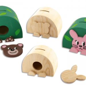 Tirelires en bois naturel à décorer avec de la peinture acrylique, du tissu auto-adhésif...