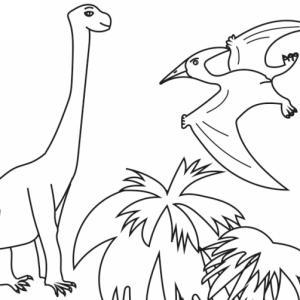 Imprimez simplement le coloriage des dinosaures sur une feuille et donnez-le à votre enfant pour qu'il puisse le colorier avec ses crayons de couleur ou ses feutres. Ce coloriage représente un ptérodactyle et un brachiosaure.