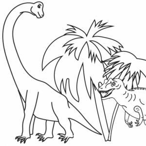 Coloriage de deux dinosaures à imprimer : sur ce coloriage votre enfant peut s'amuser à colorier le dessin d'un allosaure prêt à bondir sur un brachiosaure. Un coloriage gratuit à imprimer sur les dinosaures.