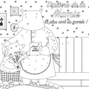 Diplôme mamie la plus cool à colorier et à imprimer gratuitement, compléter et à offrir à la meilleure mamie pour la Fête des grands-mères. Ce joli diplôme sera très beau enroulé avec un morceau de ruban comme mis dans un cadre.