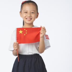 Chine: le drapeau  et les symboles. Le drapeau de la République populaire de Chine est un rectangle rouge sur lequel se trouvent en haut à gauche une étoile jaune à 5 branches bordée à sa d