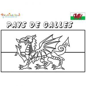 Pays de Galles, coloriage du drapeau des Galles