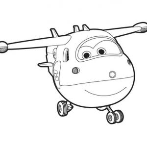 Un dessin à imprimer à télécharger gratuitement de l'avion Jett de Super Wings