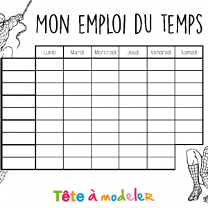 Emploi du temps Spiderman à colorier