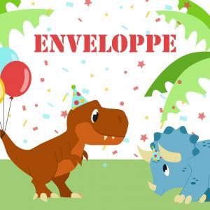 Imprimez votre enveloppe pour pouvoir inviter tout le monde au meilleur anniversaire de dinosaure du monde. Il suffira de l'imprimer sur une feuille A4 et de la monter afin de pouvoir y glisser l'invitation