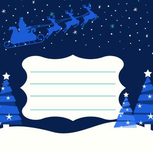 Imprimer gratuitement l'enveloppe avec un dessin du Père Noël dans son traineau survolant la neige et les sapins. Glissez la lettre du Père Noël de votre enfant, il ne restera plus qu'à y mettre un timbre et à l'envoyer.
