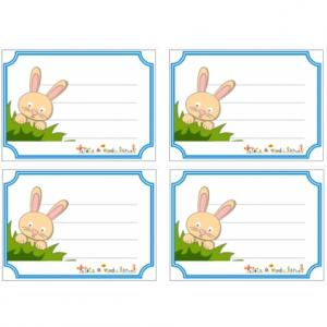 Etiquettes de cahier illustrées d'un petit lapin caché dans les herbes. Des étiquettes à imprimer pour personnaliser cahiers et livres.