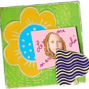 Fleur accroche photo en scrapbooking