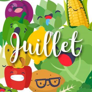 Consommer des fruits et légumes de saison c'est bon pour l'environnement mais aussi pour vous ! Abricot, Cassis, Artichaut, poivron et autre prune : retrouvez notre jolie liste des fruits et légumes de juillet. Vous pourrez même l'imprimer et la coller su