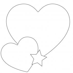 Modèles de grand coeur, petit coeur et petite étoile à imprimer pour réaliser la décoration du rond de serviette au grand coeur
