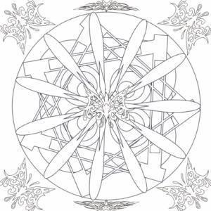 Au centre du coloriage se trouve une grande rosace auc branches fines et dans les angles un papillon aux formes très graphiques. Un coloriage de mandala destiné aux plus grands.