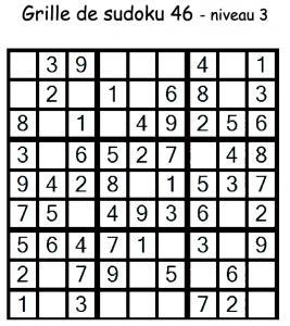 Grille de sudoku 46 de niveau 3 pour les enfants du primaire pour les aider à progresser en maths. Au niveau 3, il manque 3 chiffres au maximum par région.