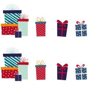 Imprimez des images de Noël, des images de cadeaux de Noël de tailles et decouleurs différentes à imprimer, à découper et à coller.
