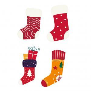 Image de Noël : chaussettes de Noël. A imprimer et à utiliser pour les bricolages, les coloriages et autres activités de Noël.