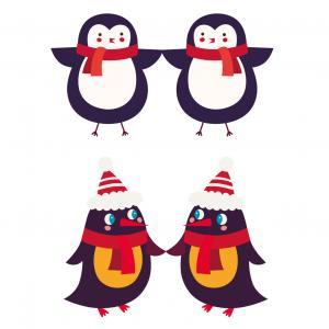 Image de pingouin de Noël à imprimer en planche pour les enfants - A utiliser pour les activités de Noël