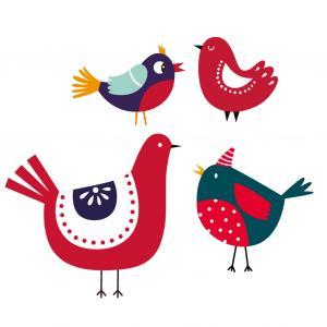 Image oiseaux Noël à imprimer. Ces oiseaux pourront vous servir pour vos activités de Noël. Il suffira de les imprimer, de les découper et de leur trouver une utilité dans un bricolage de Noël ou pour la décoration.