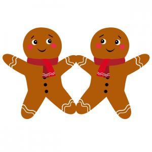 Image de Noël : Bonhomme en pain d'épices à imprimer afin de les utiliser pour faire des bricolages de Noël. Il suffira de les découper et de les coller avec vos enfants.