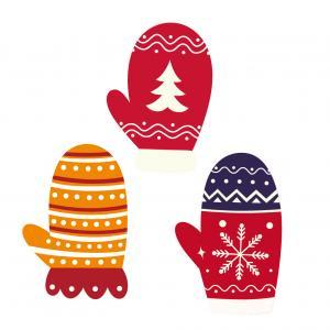 Image de Noël : Image moufles de Noël. Ces images sont à imprimer et à découper. Elles peuvent servir pour tous vos bricolages et activités de Noël avec vos enfants.