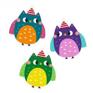 Image de Noël : Hiboux de Noël à imprimer pour les bricolages de Noël. Il vous suffira de les découper afin de pouvoir els utiliser avec vos enfants pendant vos activités sur le thème de Noël.