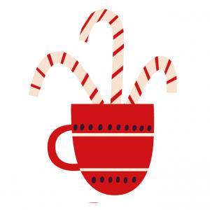 Image de Noël : chocolat chaud et canne de Noël à imprimer. Il suffira de les découper afin de pouvoir les utiliser durant les bricolages et les activités sur le thème de Noël avec les enfants.