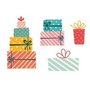 Image de Noël à imprimer : Image de Noel représentant une planche de cadeaux. A imprimer, découper et à utiliser pour els activités sur le thème de Noël.