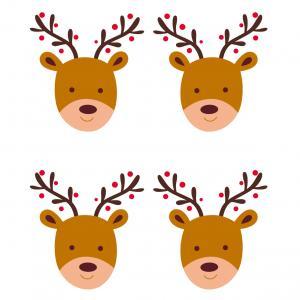 Image de Noel gratuite : Planche d'images de Noel représentant des rennes de Noël
