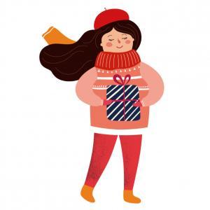 Image de Noël à imprimer : Planche de jeune fille avec un cadeau à imprimer et à utiliser pour le bricolage des enfants