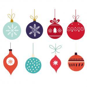 Image de Noël : Boules de Noël : Imprimez une planche de de petites images de Noël pour le plaisir de votre enfant. Il pourra découper, coller et compléter ces images de Noël.