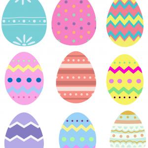 Une image joyeuse d'oeufs de Pâques colorés, une image de Pâques à imprimer et à découper