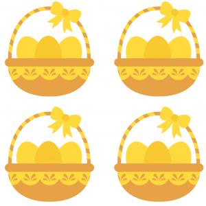 Image Paques a imprimer : image de Pà¢ques 23 - image de Pâques à imprimer avec des paniers remplis d'oeufs de Pâques. Àimprimer et à découper