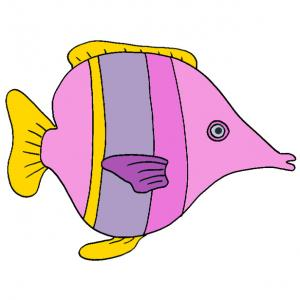 Une image de poisson rose spécilament prévu pour les filles, une image de poisson à imprimer pour le 1 er avril. Un poisson d'avril rose à imprimer pour les filles