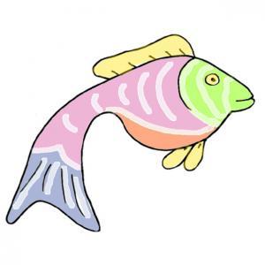 Un poisson aux couleurs claires à imprimer pour préparer les farces du 1 er avril. Une image d'un Poisson aux couleurs claires pour les poissons du premier avril