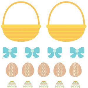 Image Paques a imprimer : Des paniers de Pâques à imprimer et à assembler afin de les remplir.