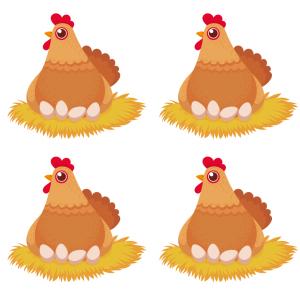Image d'une poule qui couve ses oeufs: une image de Pâques à imprimer pour les enfants