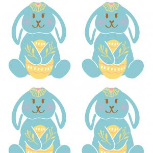 Imprimer une image de Pà¢ques : lapin de Pà¢ques bleu au gros noeud - une image de Pà¢ques à imprimer pour les décorations dans la maison