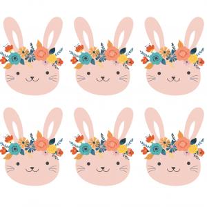 Image du lapin de Pâques rose avec une couronne de fleurs une image de Pâques à imprimer - une image de Pâques à imprimer pour les décorations dans la maison