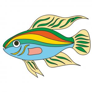 Une image de poisson exotique multicolore à imprimer pour l'amusement de votre enfant - un poisson à bandes vertes, bleues, oranges et autres couleurs. Un poisson parfait pour le 1er avril.