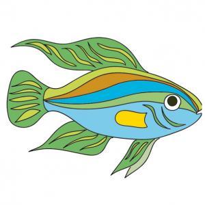 Un beau poisson aux belles couleurs à imprimer pour les enfants. Une image de poisson aux couleur multicolores pour le jour des farces