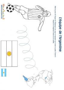 Jeu joueur equipe d'Argentine son pays et son drapeau