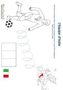 Jeu joueur equipe d'Italie son pays et son drapeau